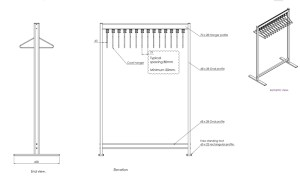 R.FS70x28.2 Free Standing Coat Rail Dimensions | Cloakroom Solutions