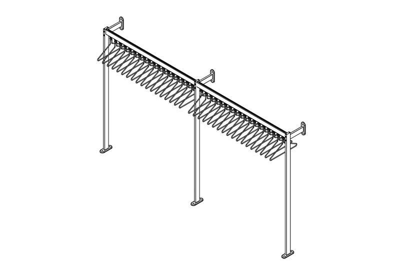 R.FS70x28.3 Floor to Wall Mounted Coat Rail   Cloakroom Solutions