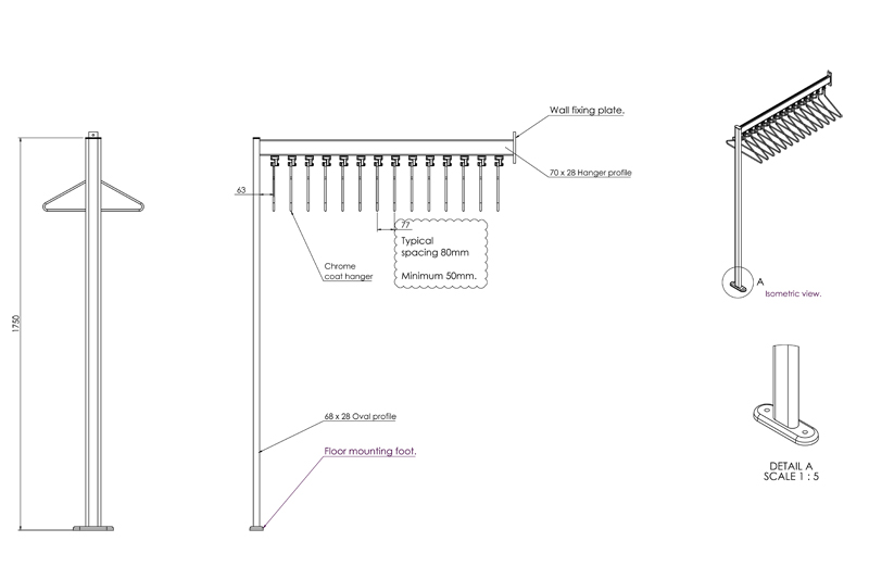 FS70x28.9 Floor to Wall Mounted Coat Rail | Cloakroom Solutions