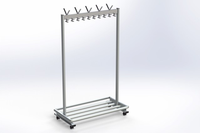 RG70LR-2 Mobile rack with hooks & luggage rack | Cloakroom Solutions