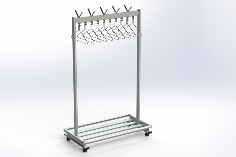 RG70LR-3 Mobile rack with hangers & luggage rack | Cloakroom Solutions