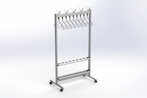 RG70x28-3 Mobile rack with hangers & umbrella rack | Cloakroom Solutions