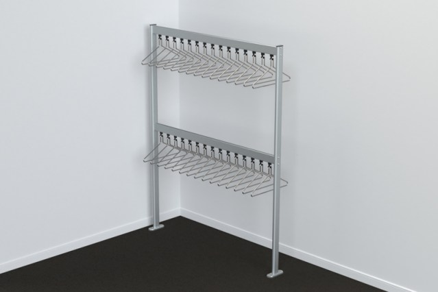 FS70x28.5 Floor Mounted Double Height Coat Rail | Cloakroom Solutions