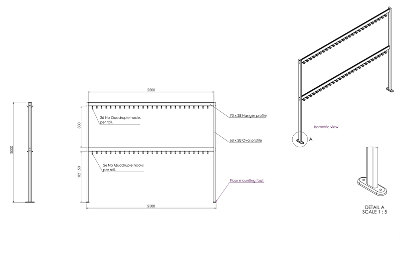 FS70x28-2-2 Free Standing Double Height Hook Rail | Cloakroom Solutions