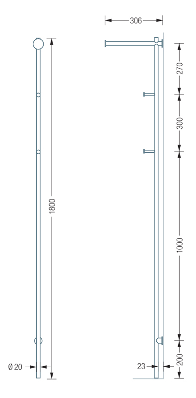 PHOS GL3 Coat Stand Dimensions | Cloakroom Solutions