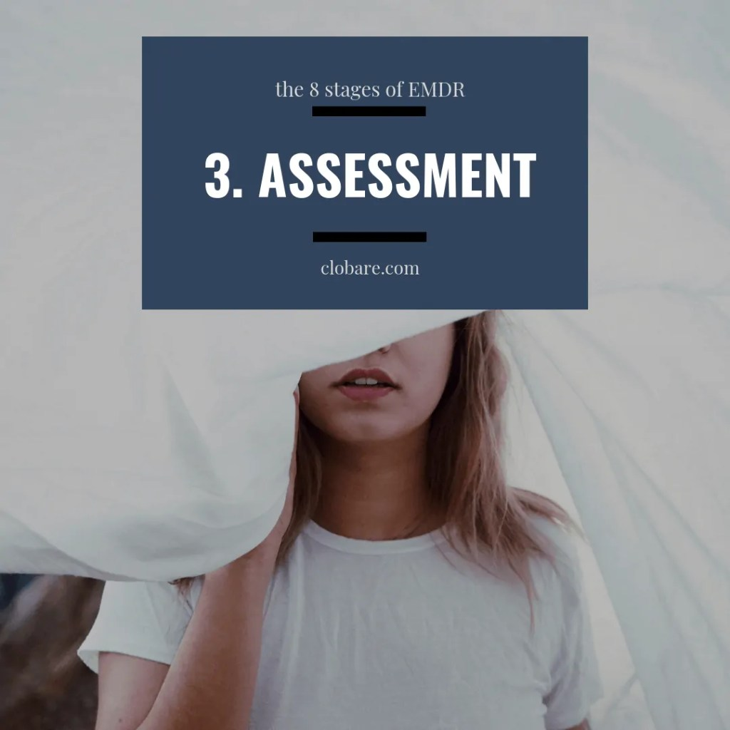 The 8 Stages of EMDR: #3 assessment, Clo Bare, clobare.com #mentalhealth #therapy #trauma #PTSD #EMDR