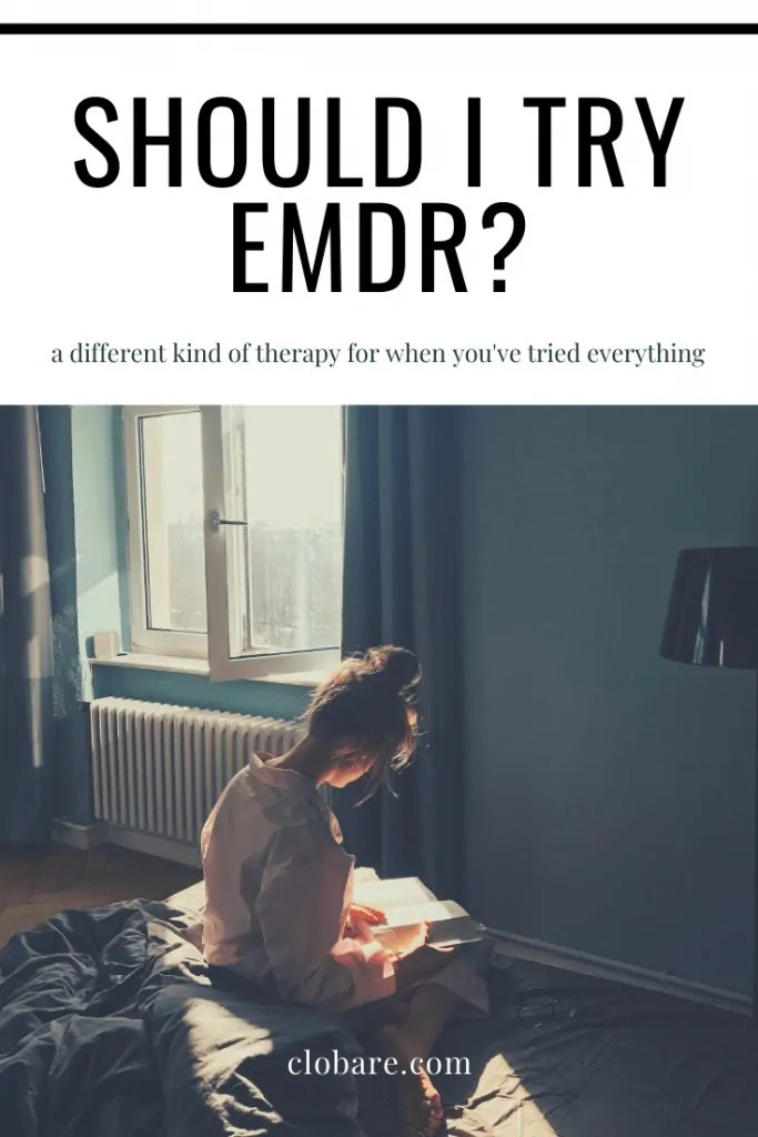 Clo Bare: Should I Try EMDR?, woman sits on bed reading a book and wondering if EMDR is the right type of therapy for her; clobare.com