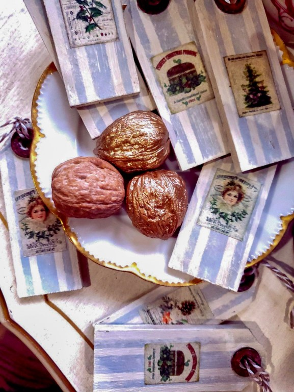 Christmas gift tags finished with walnuts