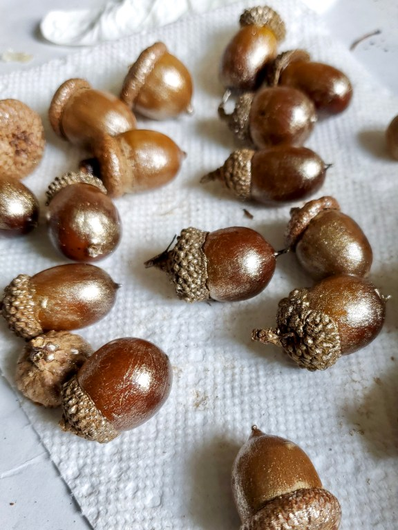 The acorns after they are drybrushed with the paint