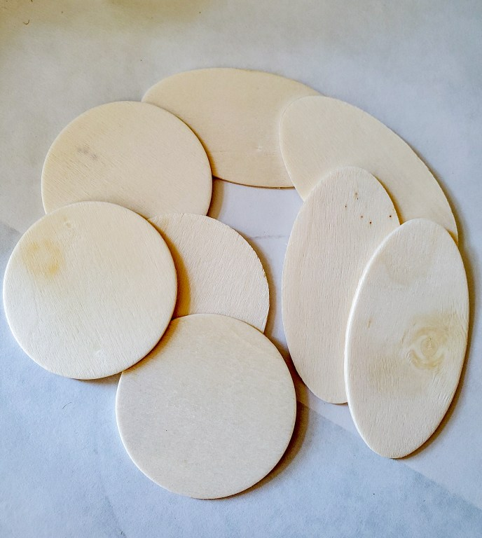 Wood oval and rounds to make the cheese markers