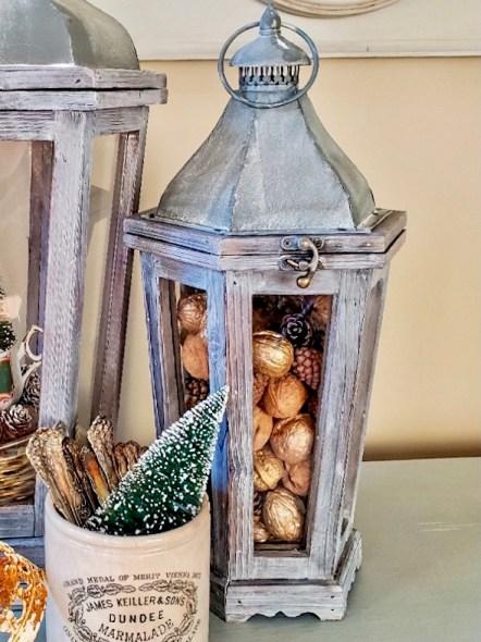 Small lantern showing painted walnuts