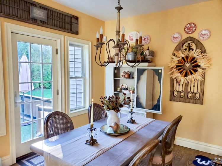 A look the kitchen at another angle showing fall decor