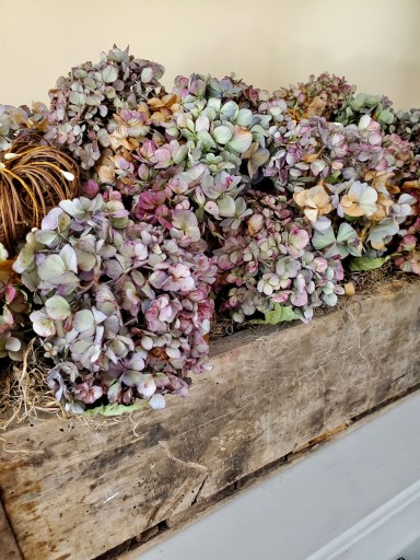 another close up of the dry hydrangea in the wooden crate