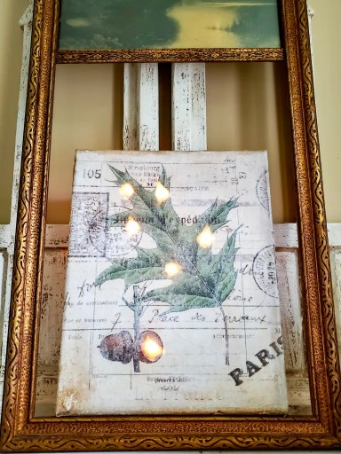 close up of vintage transfer of the acorn lit