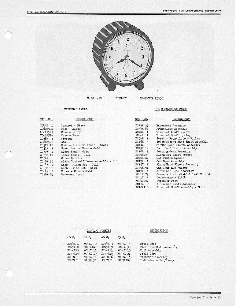 1950 General Electric Clocks Parts Catalog > Alarm Clocks