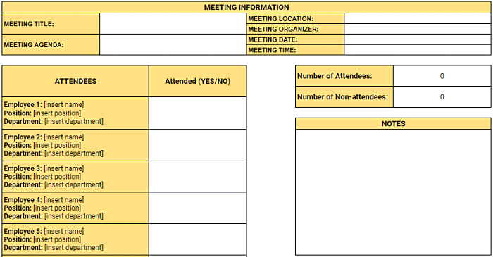 Employee Attendance Tracker Excel Templates Clockify