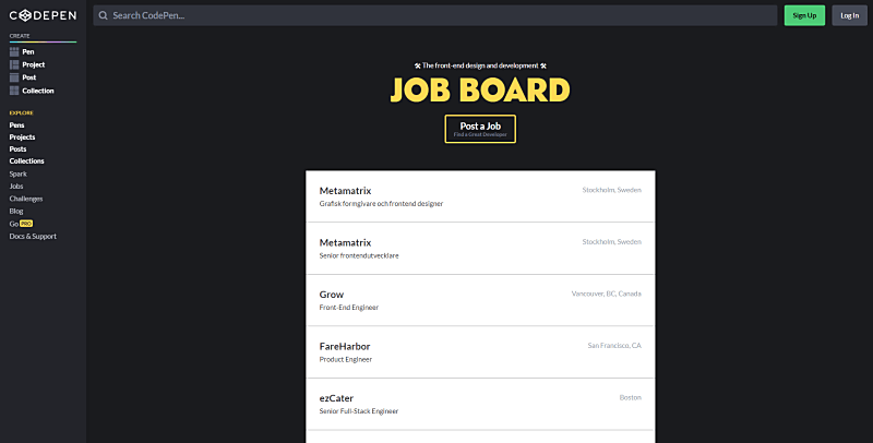 codepen freelance website