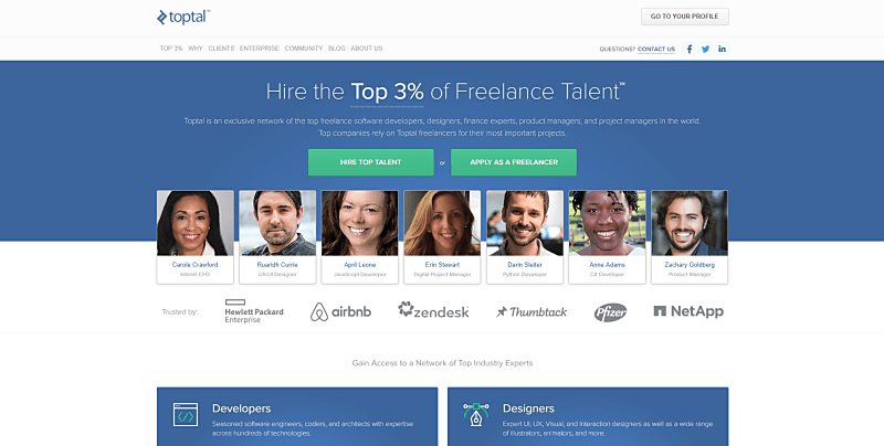 Toptal freelance website