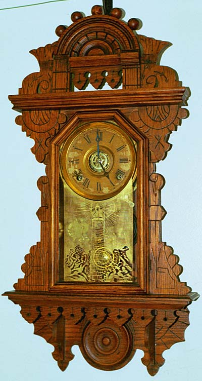 Russell & Jones Hanging Oak Parlor Clock