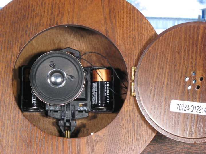 A clock with the speaker mounted to the back of the movement, and in which the back door covers the speaker, trapping the sound inside (Hermle 70734-Q12214). This causes the chime to be very quiet and without richness.