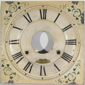 Dial: metal, two rings drawn around time track, dots for minute marks. Early features of dial: tapered numerals 3, 4 and 8, small winding holes (8.2 mm). Has an engraved brass nameplate, an unusual feature.