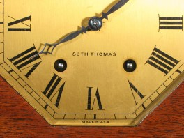 "Dial is labeled ""SETH THOMAS"" ""MADE IN U.S.A."""