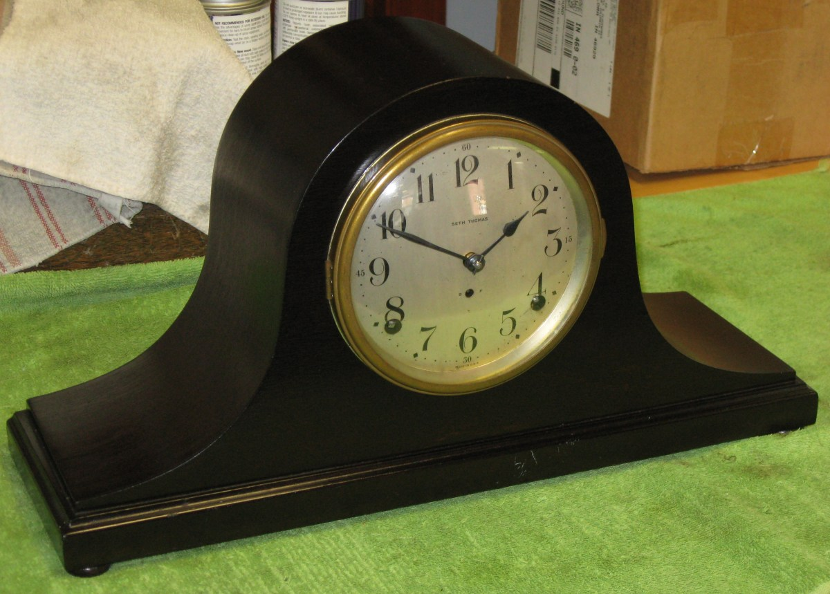 Seth Thomas Dark Mahogany Tambour Mantel Clock Ca 1920