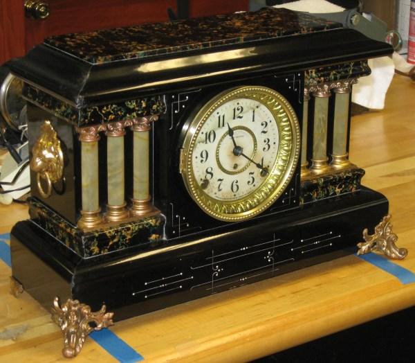 Seth Thomas Adamantine Mantel Clock 6 -pillar Black