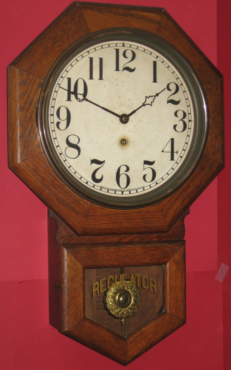 Sessions Oak Cased Drop Octagon Schoolhouse Clock