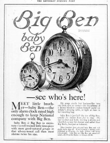 "The first ""baby Ben"" alarm clock advertisement"