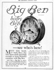 "The first ""baby Ben"" alarm clock advertisement"