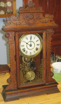 Antique Seth Thomas Oak Kitchen Clock With Nice Label And