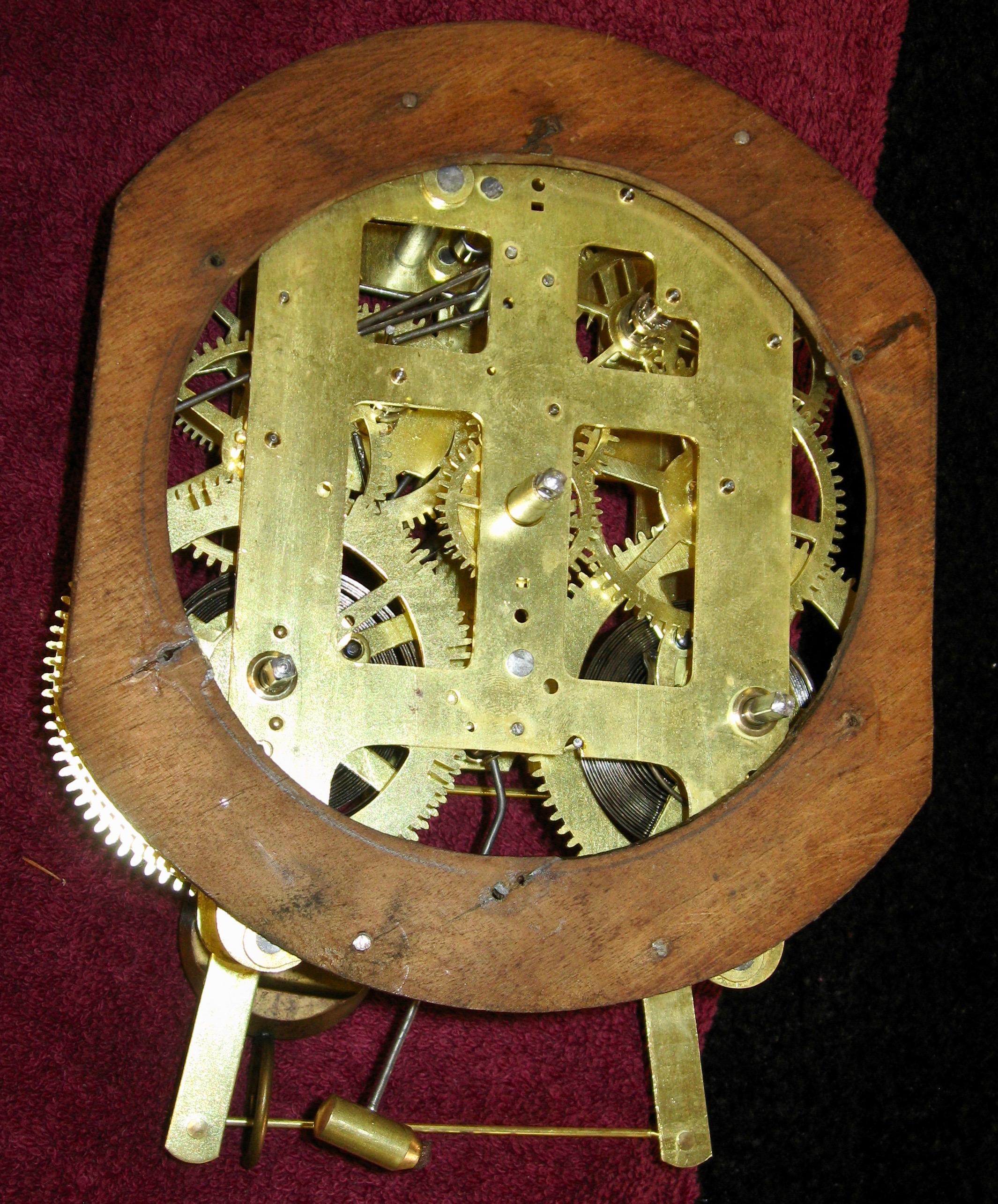 Movement mounted on mounting board