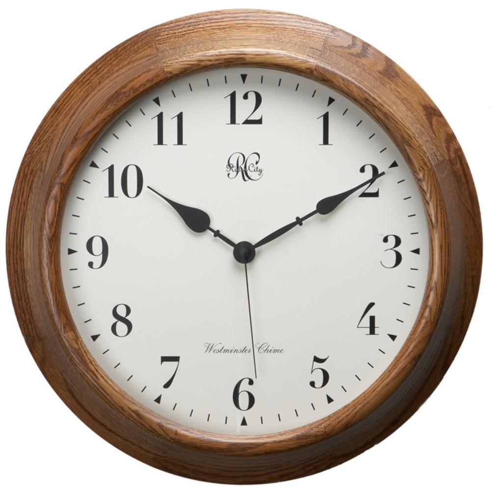 River City Clocks Oak Post Office Chiming Wall Clock 7100