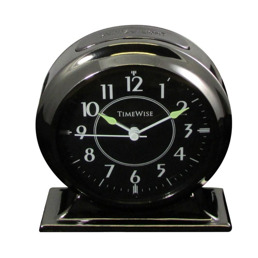 Bedside Alarm Clock  Collegiate Gunmetal Black  ClockShopscom