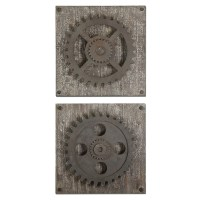 Alternative Wall Decor - Uttermost Rustic Gears Wall Art ...
