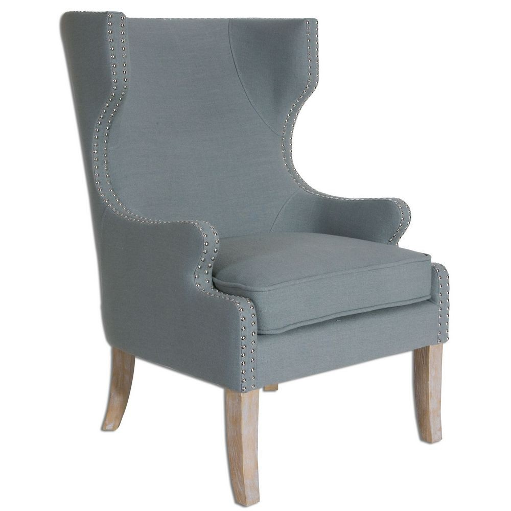 Accent Furniture  Uttermost Graycie High Back Wing Chair