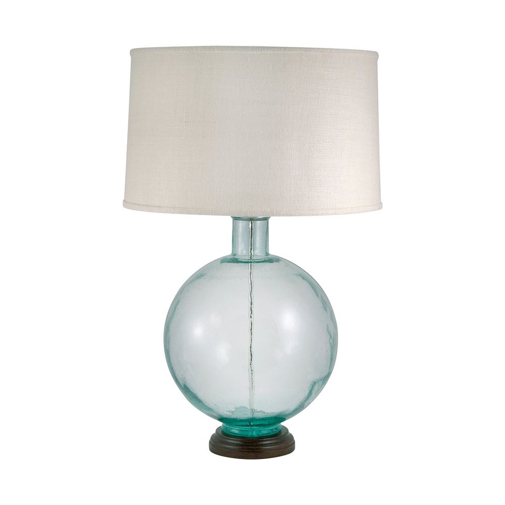 Aquamarine Recycled Glass Orb Table Lamp