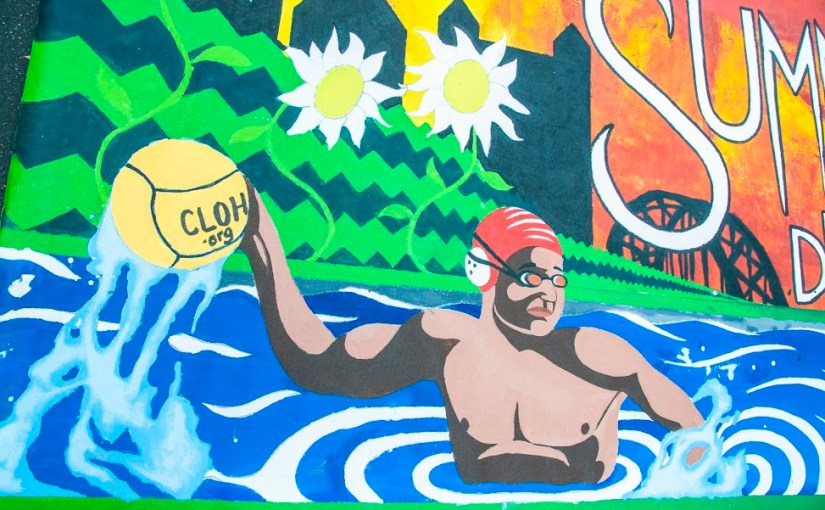 Water polo player in mural.