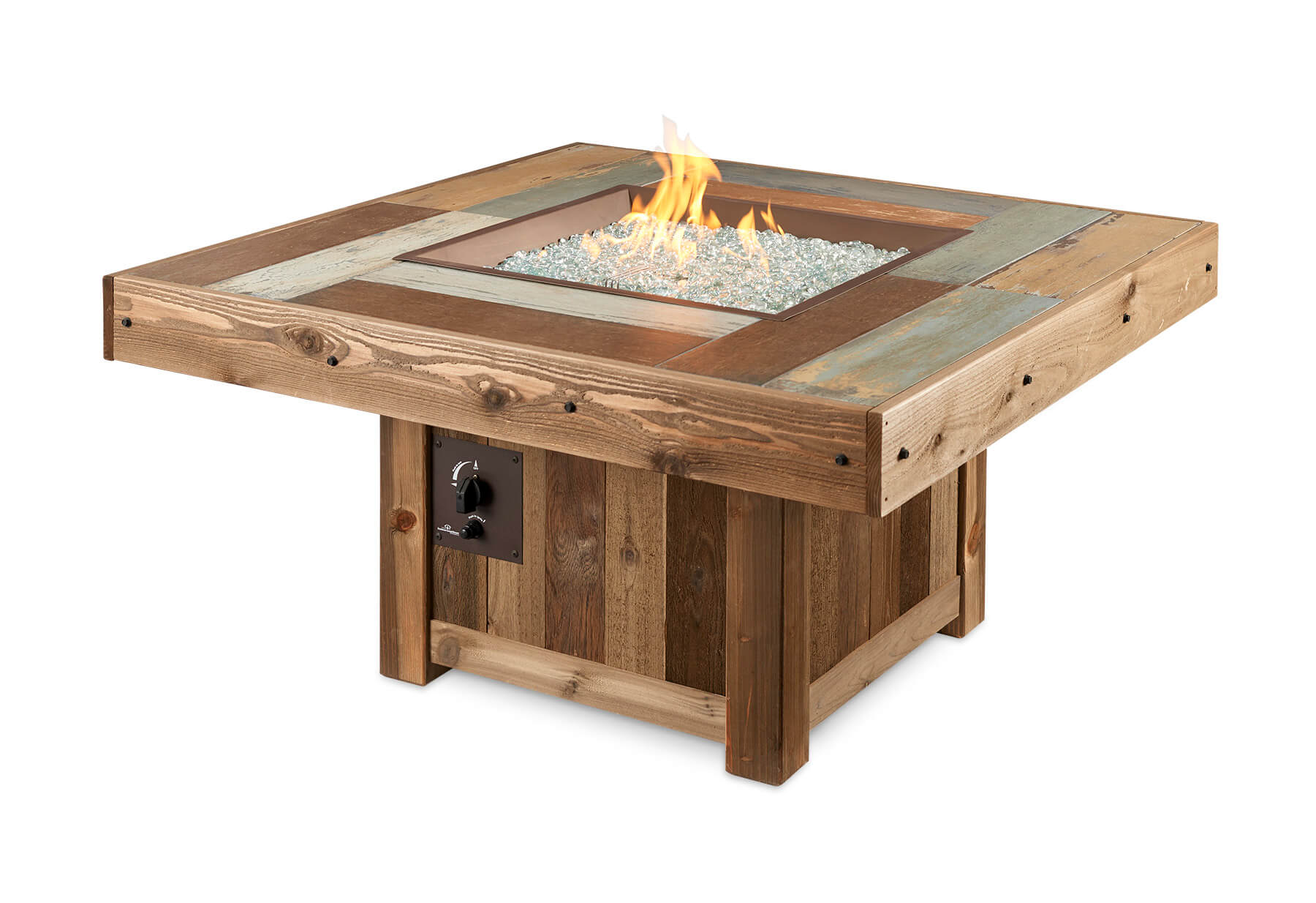 Outdoor Greatroom Vintage 48 25 Square Faux Wood Fire Table Vintage Square – Gas Fire Pit Table | Cloister Cabinetry