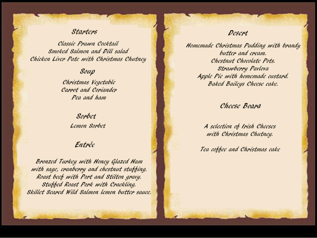 Christmas Parties Menu