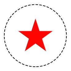 red star with cutting line