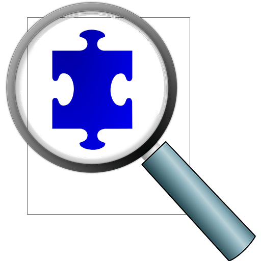 Clooz icon of magnifying glass viewing a puzzle piece