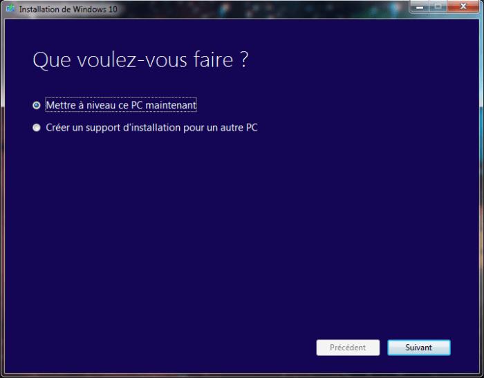 Choix d'installation - Windows 10