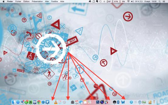 Dock OS X avec des Espaces