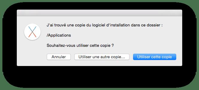 Choix Copie Logiciel d'installation