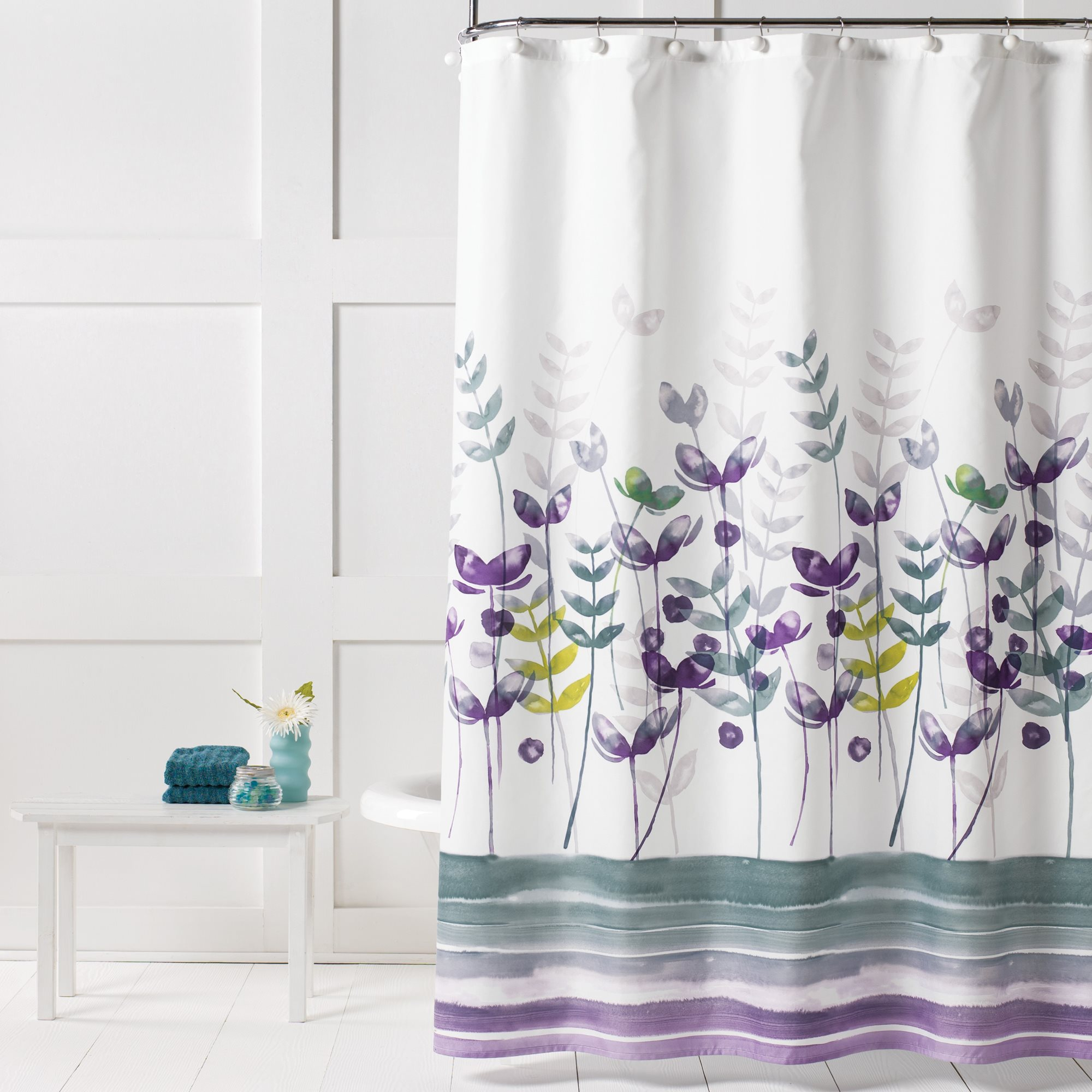 Details About Saturday Knight Ltd Watercolor Meadow Fabric Shower Curtain 70x72 Multicolor