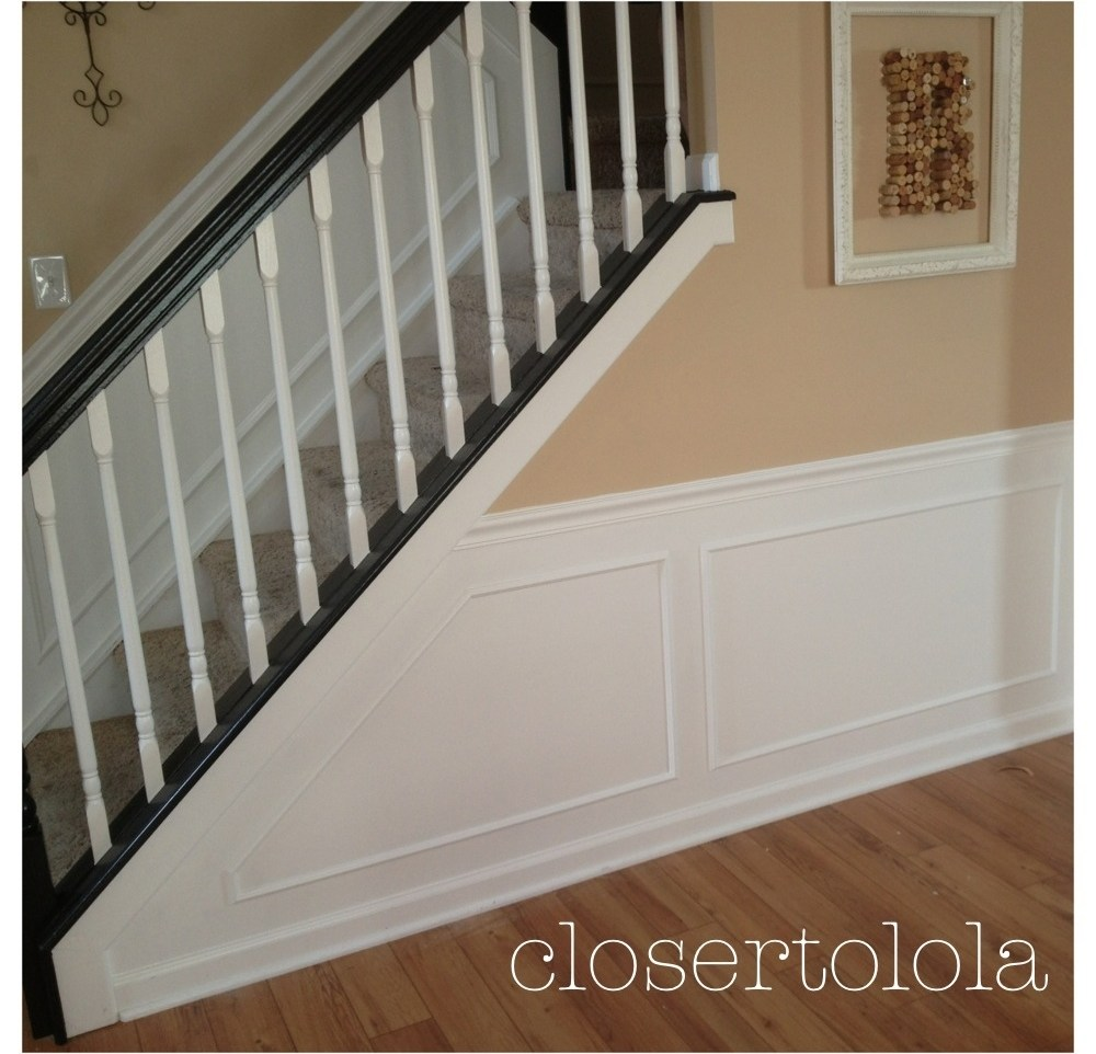 Chair Rail Closer To Lola | Chair Rail On Stairs | Double | Traditional | Stained Wood | Remodeling | Wainscoting