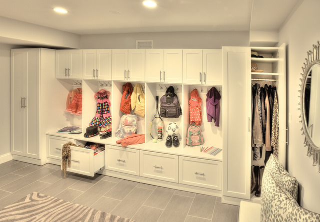 BuiltIn Mudroom Storage  Cabinets in Charlotte NC