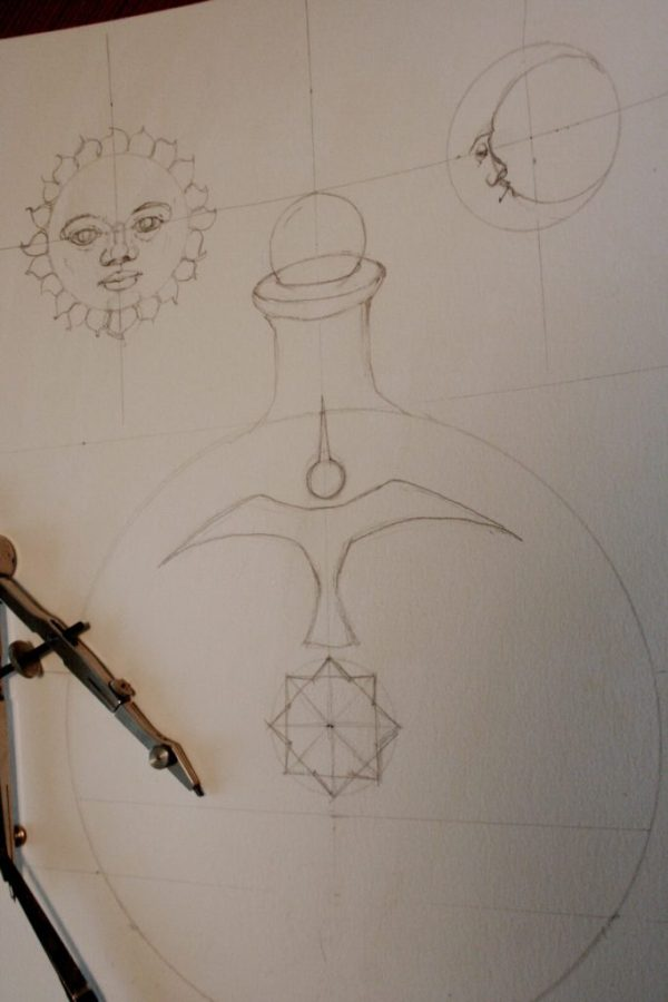 Solve et Coagula alchemical illustration work in progress
